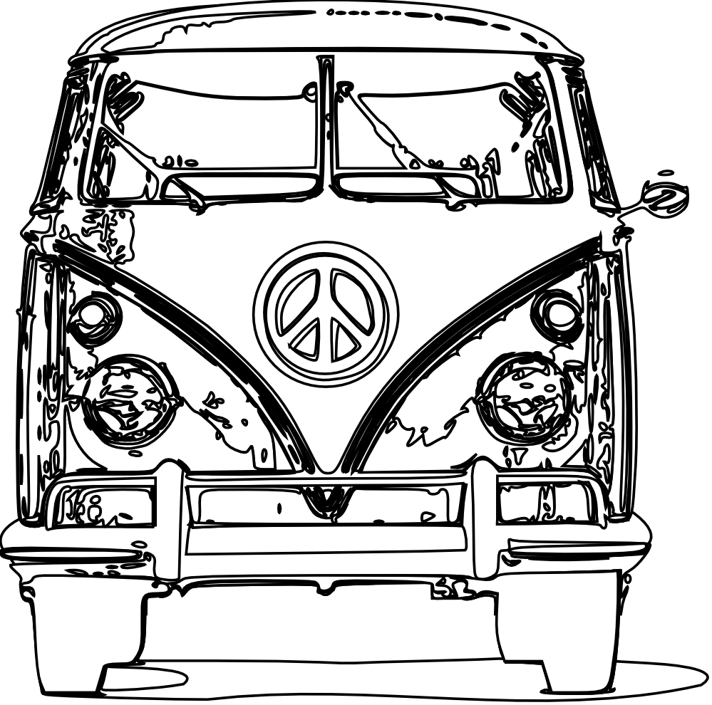 Volkswagen drawing hippie. Vw bus coloring page