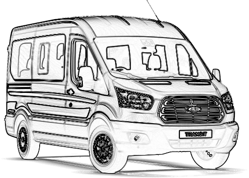 Volkswagen drawing minibus. New ford transit for