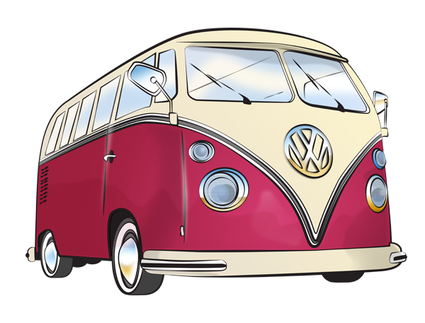 Volkswagen drawing pen. Freelance illustrator vw camper
