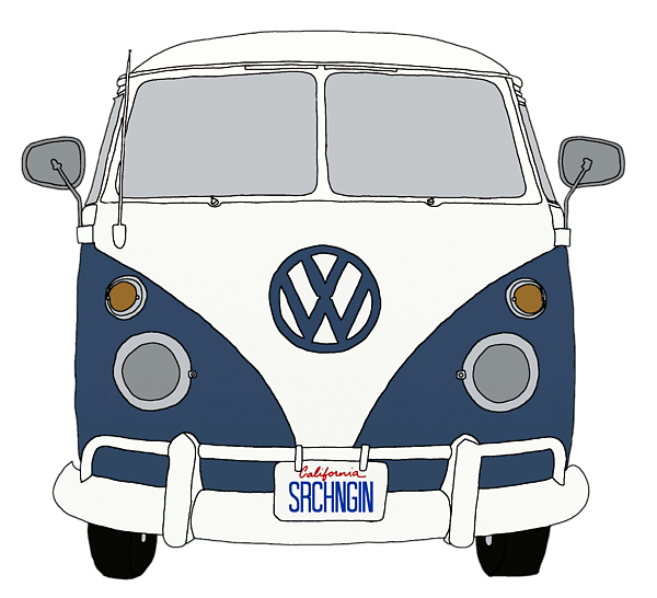 Volkswagon drawing pen. Vw bus front end