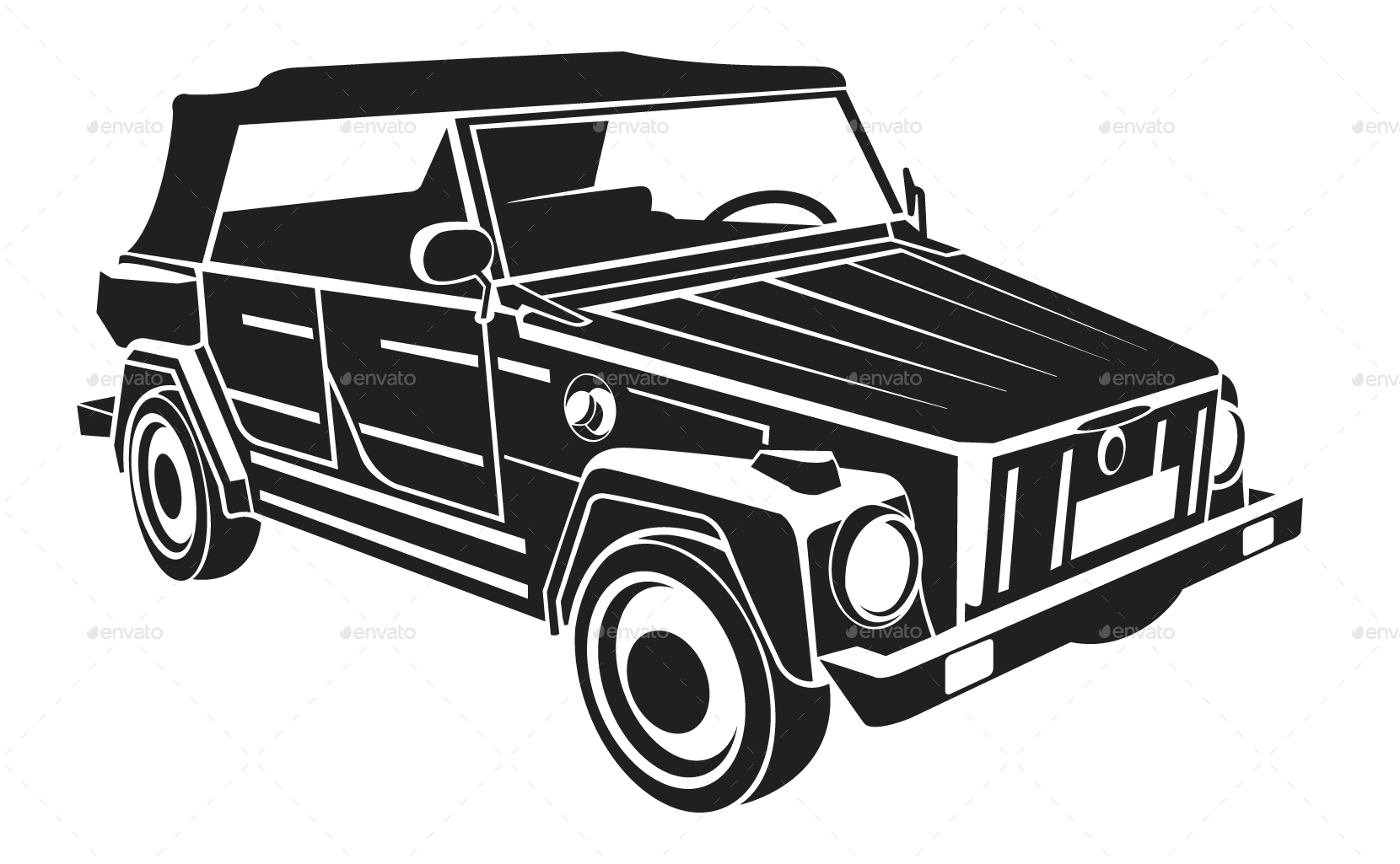 Volkswagen drawing silhouette. Vw car set by