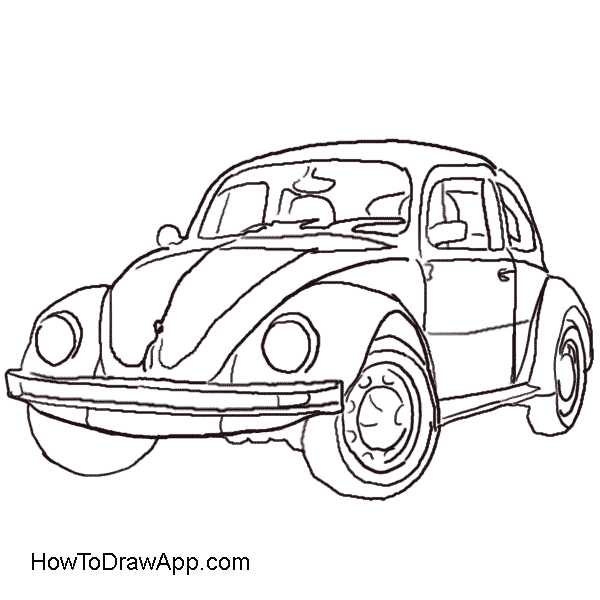 volkswagen drawing beetle car