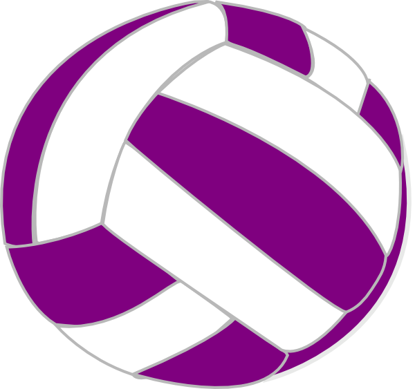 Volleyball clip colorful. Purple and white art