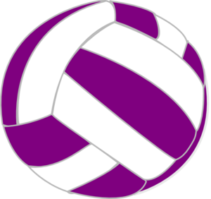 Volleyball clip netball ball. Purple and white art
