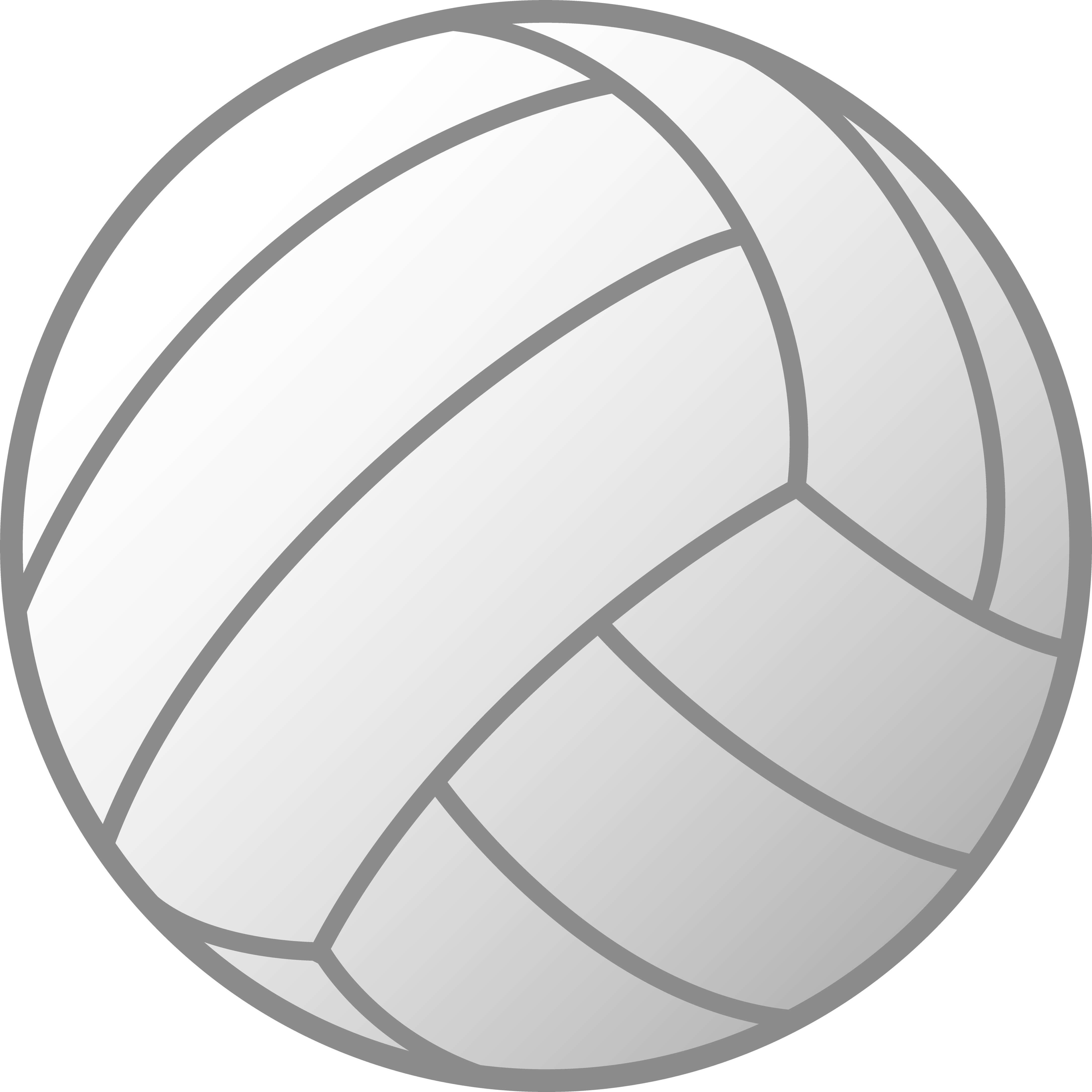 Volleyball clip simple. White free art grey