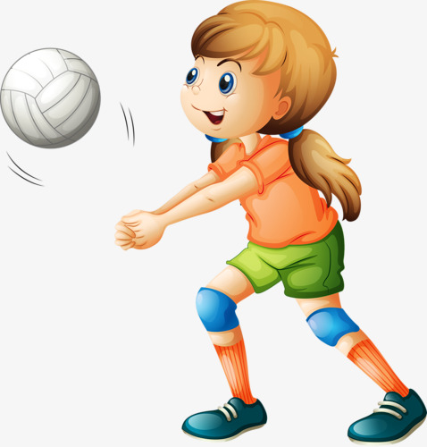 Volleyball clipart hand. Painted cartoon playing players