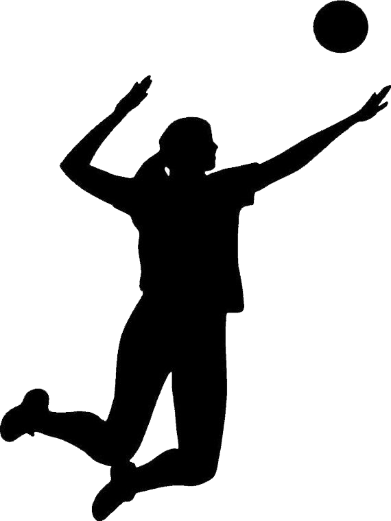 Volleyball silhouette png. Players hitting transparent
