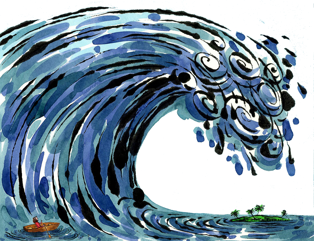 Vortex drawing blue water. Tsunami photography illustration hand