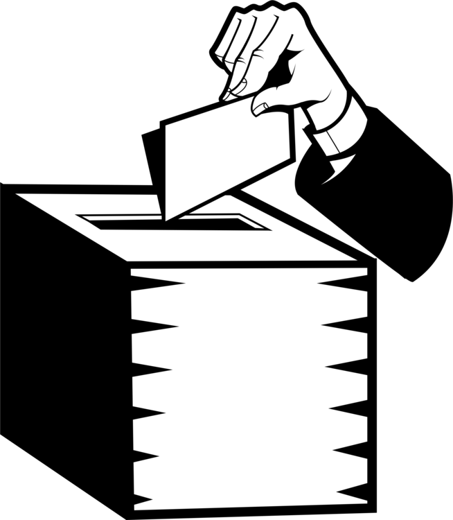 Vote drawing. Voting election ballot box
