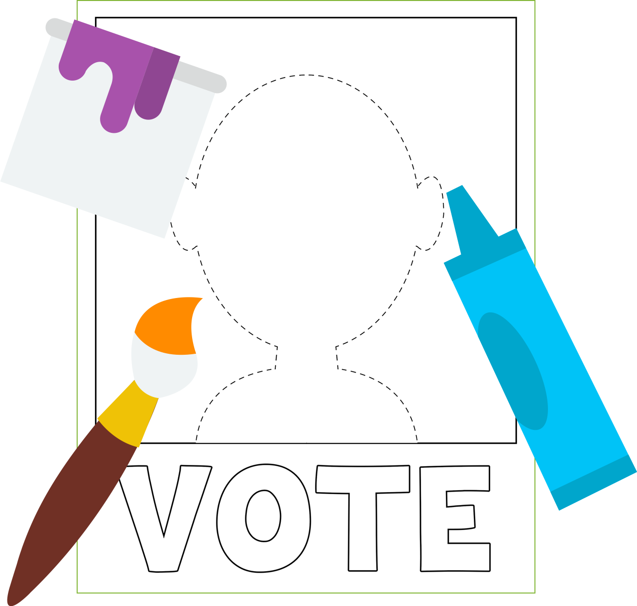Vote drawing election poster. Of a blank for