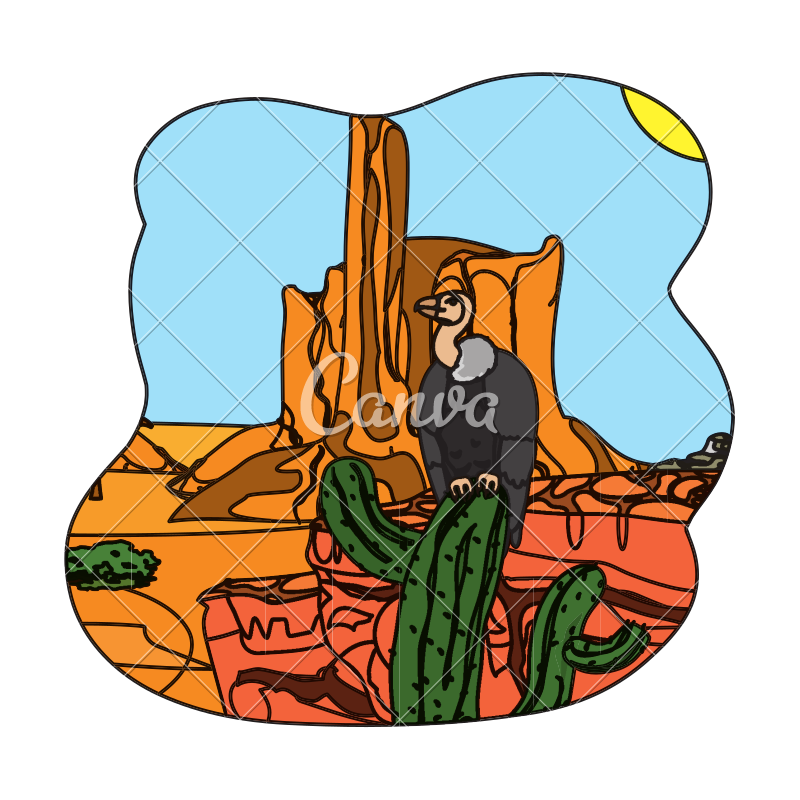 Canyon vector cartoon. Color vulture in the