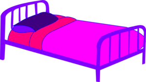 W clip bed. Purple pink covers art