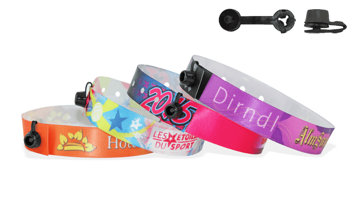 W clip plastic. Satin wristbands with round