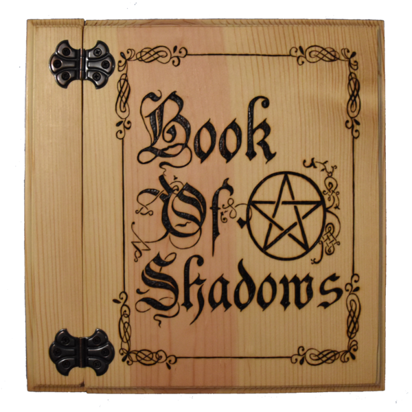 W transparent medieval. Book of shadows with