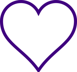 W transparent purple. Background with heart outline