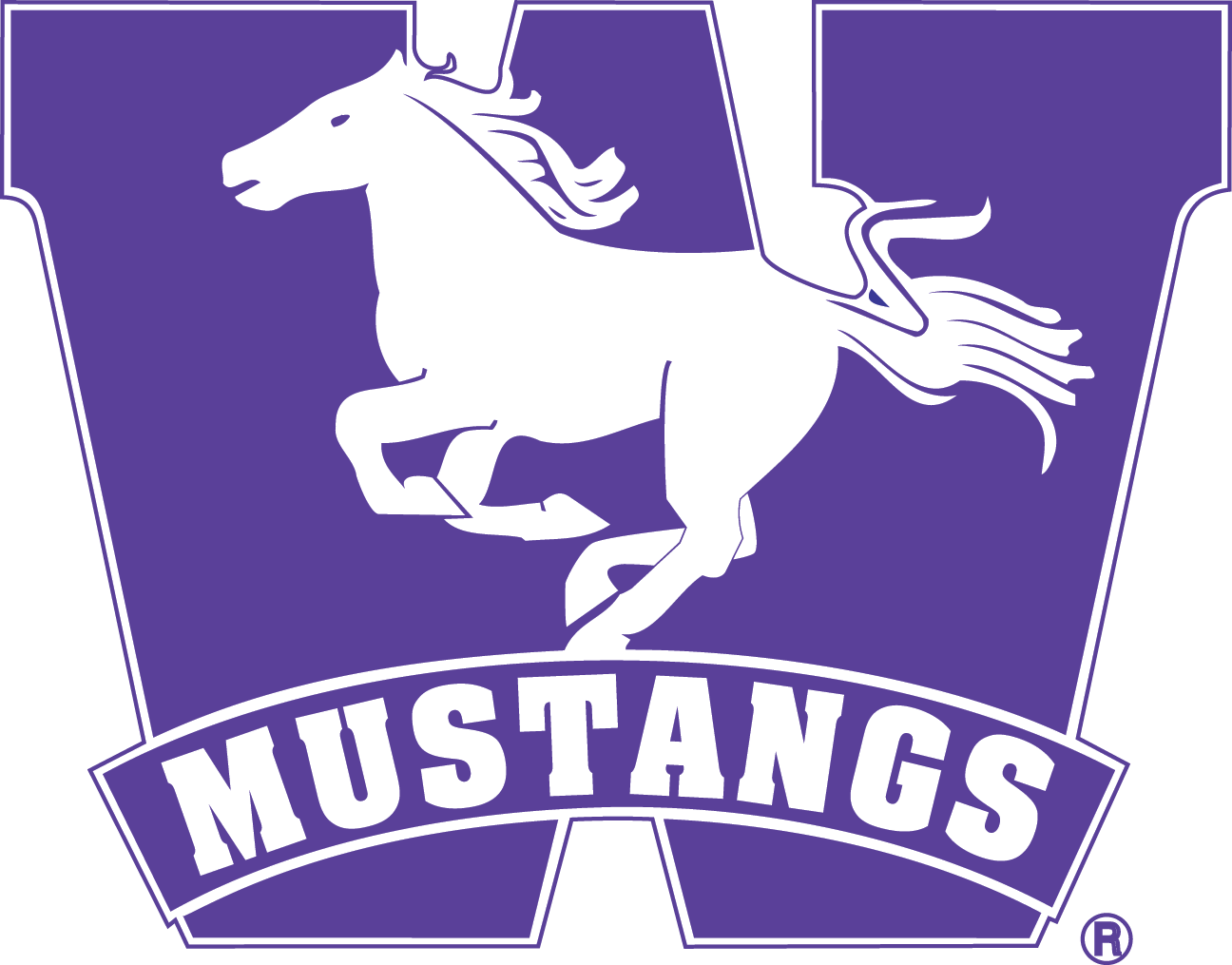 W transparent western. Mustang logo communications university