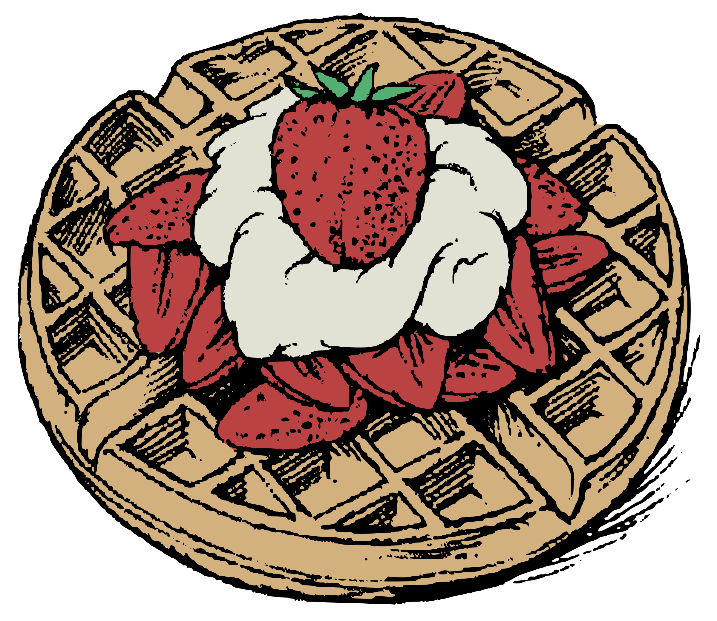Waffle clipart png. Belgian waffles colour big