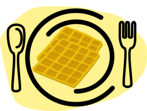 Waffle clipart vector. Plate fork clip art