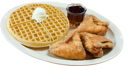 Waffles transparent fried chicken wing. The obama special wings