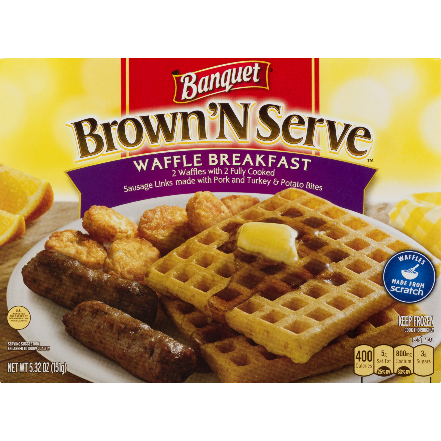 Waffles transparent brown sugar. Banquet n serve waffle