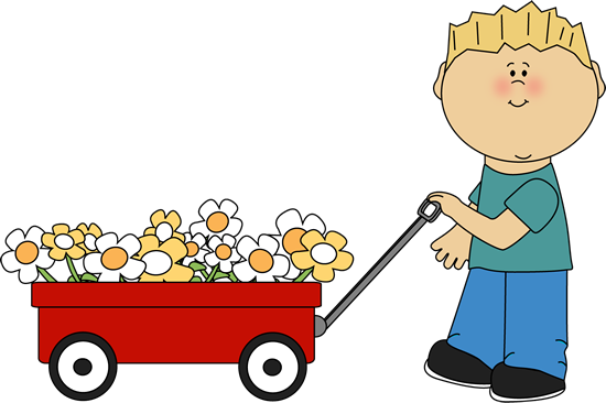 Wagon clipart baby. With flowers