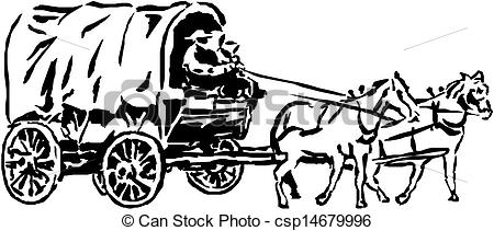 Wagon clipart horse wagon. Drawn