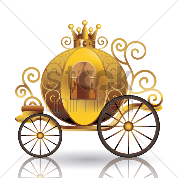 Wagon vector animated. Golden carriage graphic art