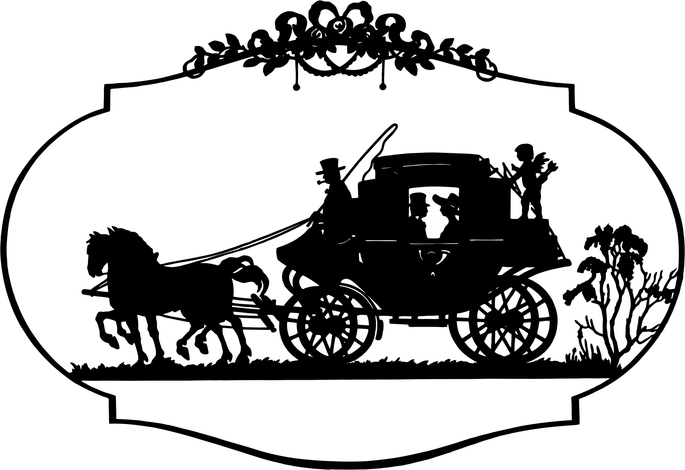 Vector horses vintage. Horse and carriage silhouette