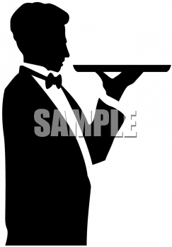Waiter clipart silhouette. Picture of a holding