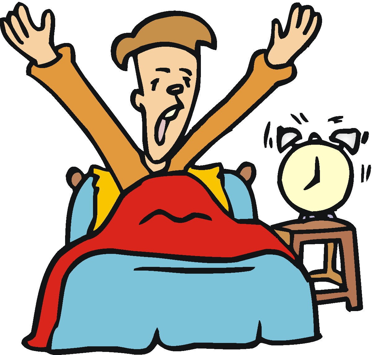 Waking clipart. Up in bed