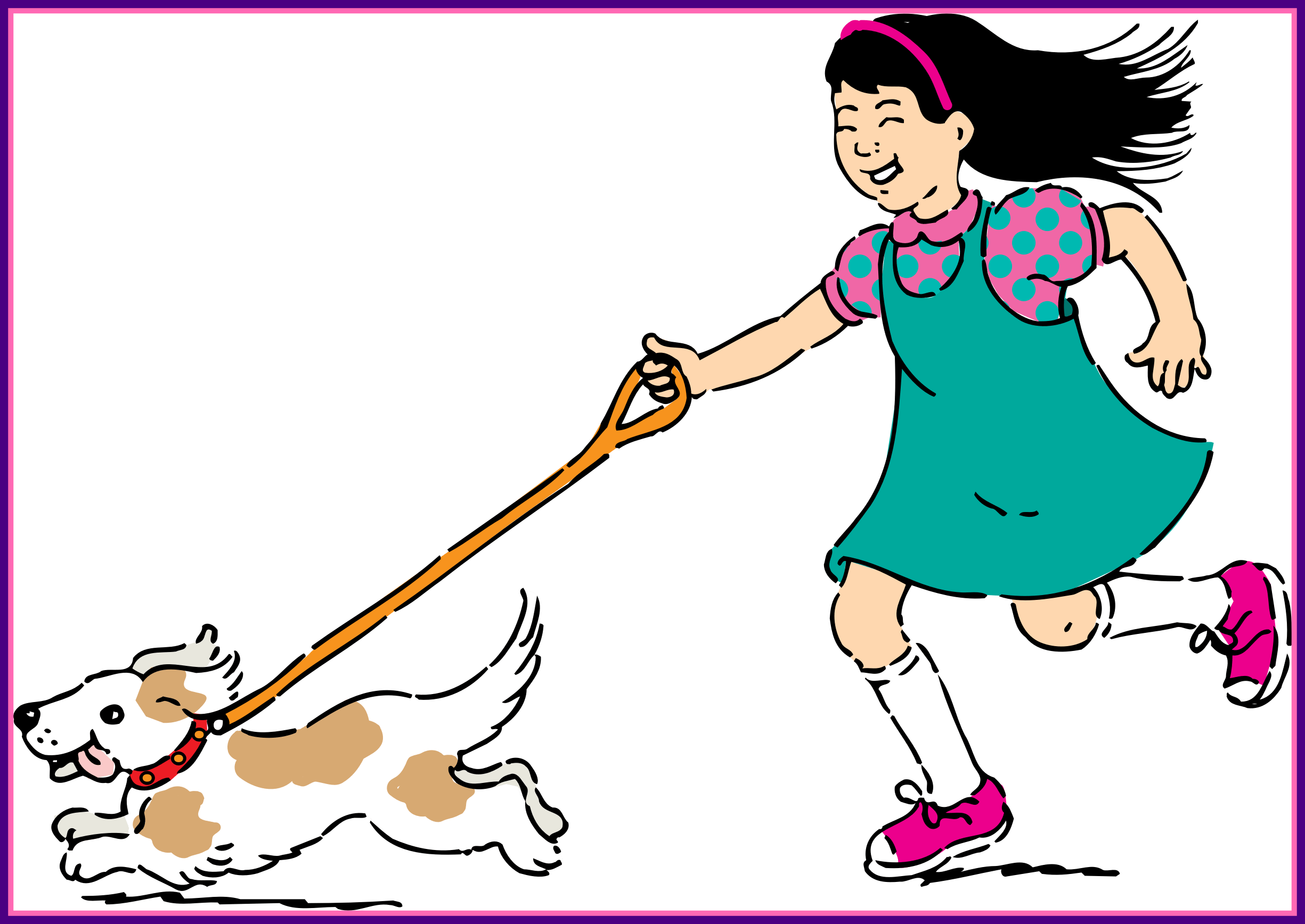 Walk drawing girl. Walking dog svg
