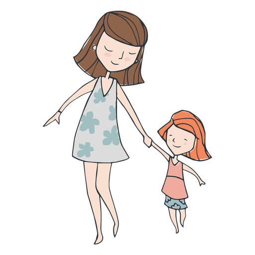 And dauther walking cartoon. Mom png image black and white download