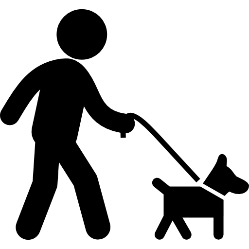 Walking dog png. With belt a man
