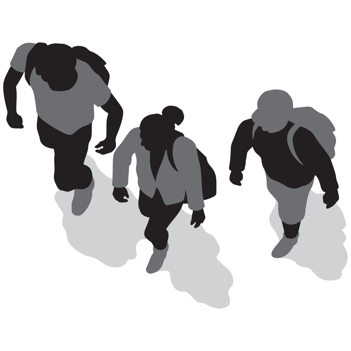 Walking people silhouette png. Cities living streets three