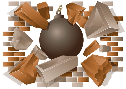 Brick wall hole png. Breaking through transparent ideas
