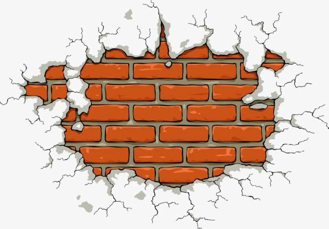Wall clipart cartoon. Cracked walls hand drawing