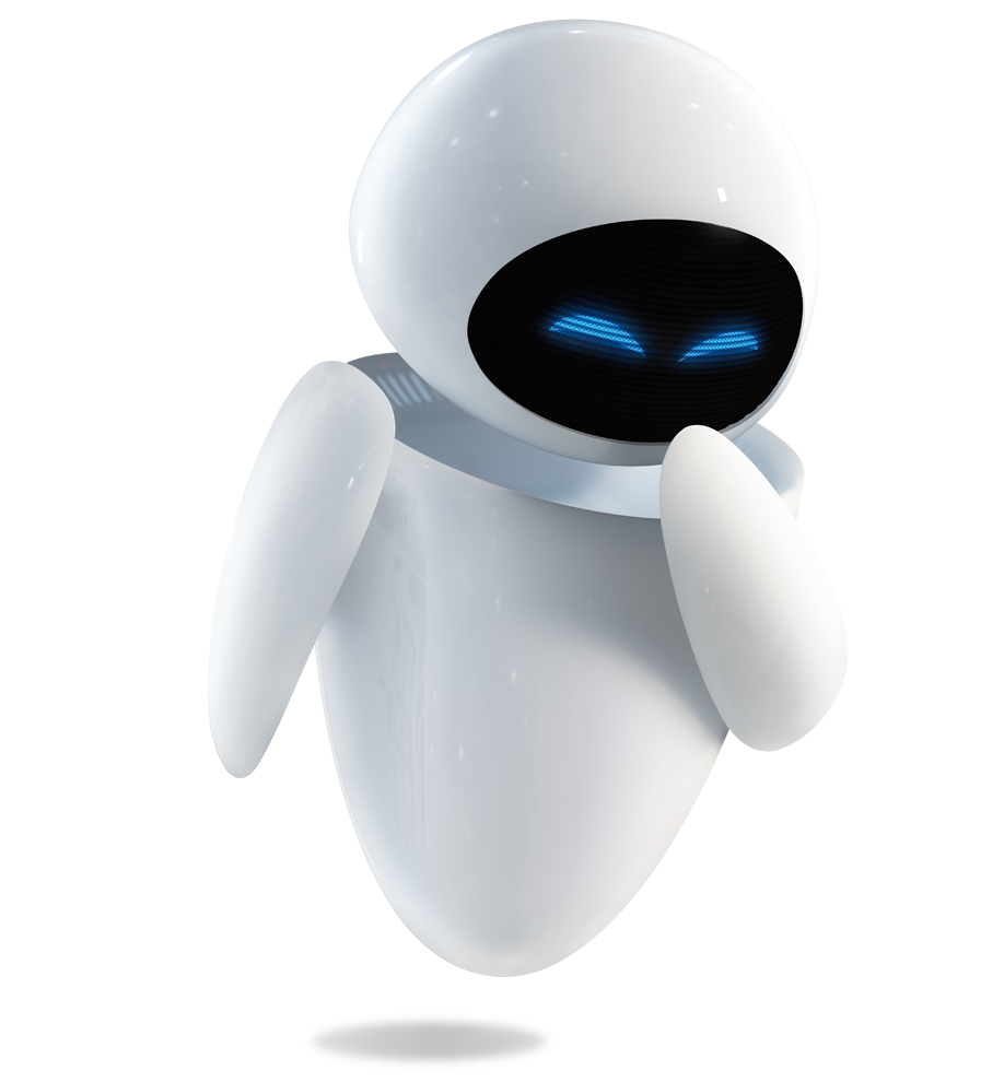 Wall-e png cartoon. Eve laughing from pixar