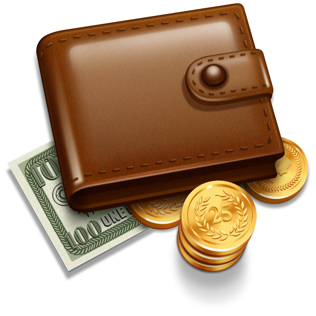 Transparent wallet money. With coins png free
