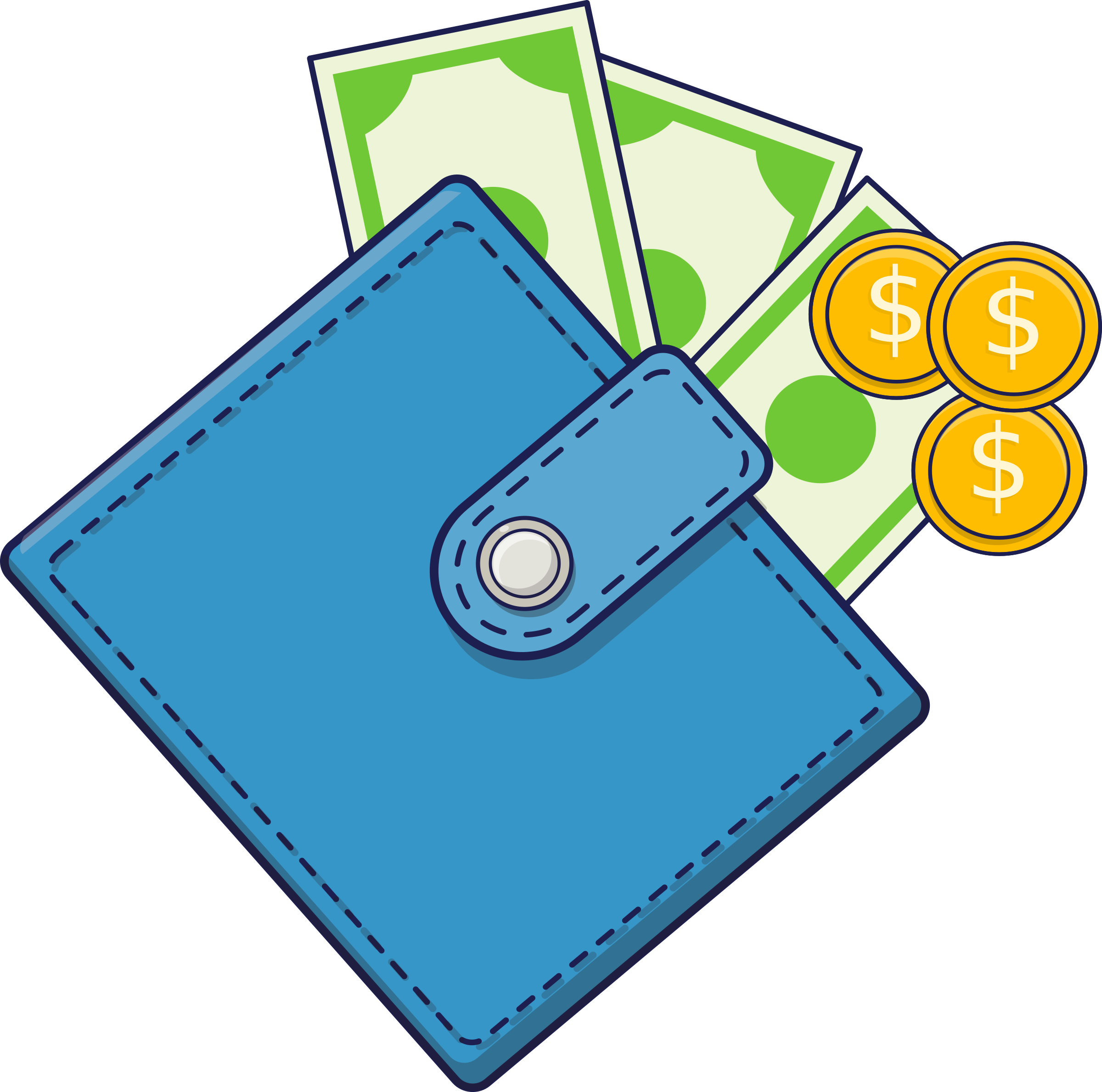 Wallet clipart. With cash big image