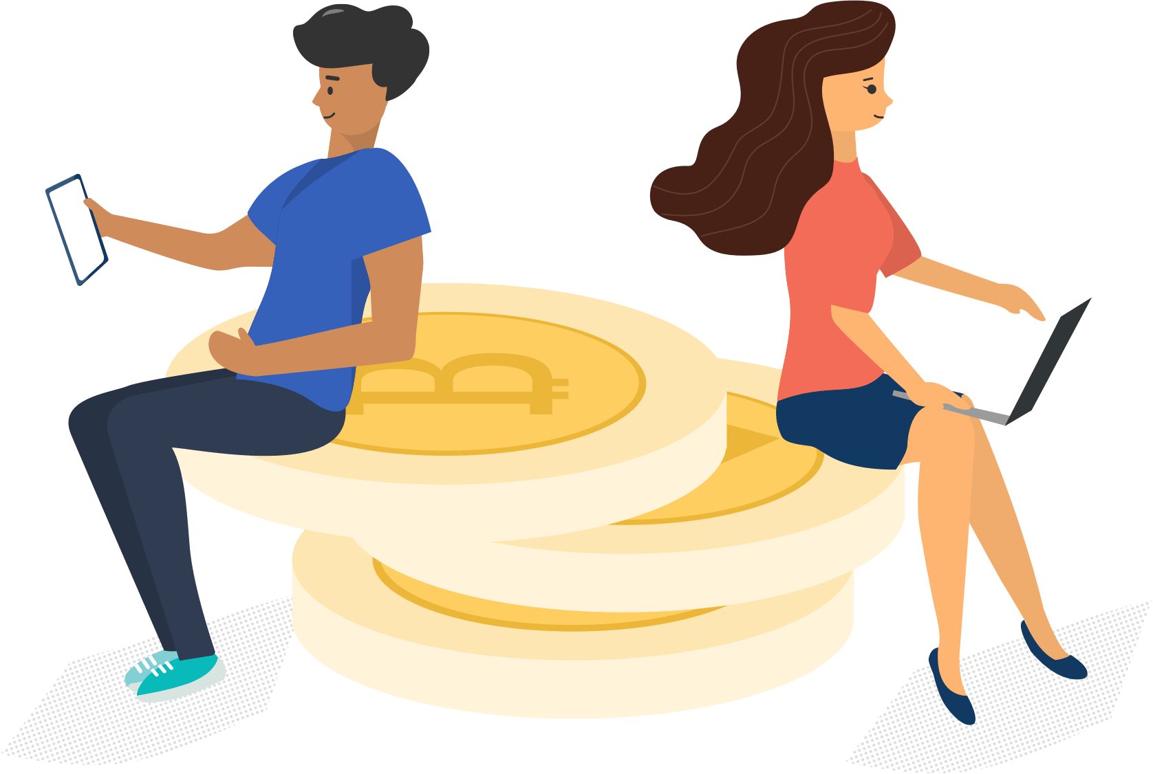 Wallet vector cartoon. Bitcoin store and invest