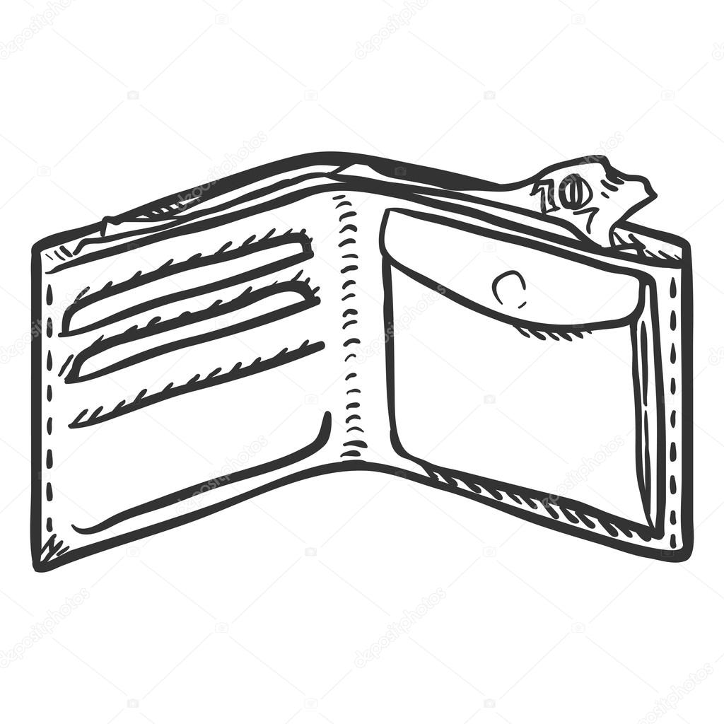 Wallet clipart leather wallet. Sketch of stock vector