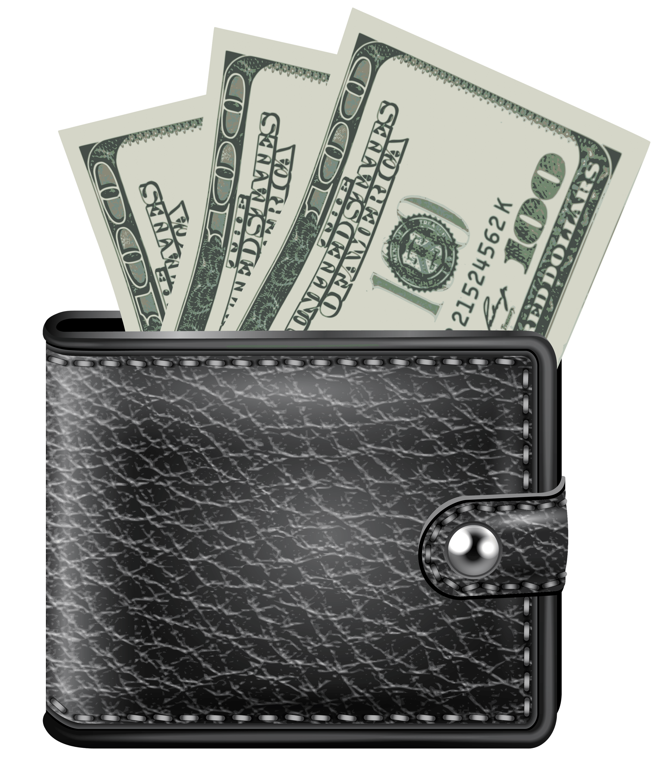 Transparent wallet cash only. Money png stickpng