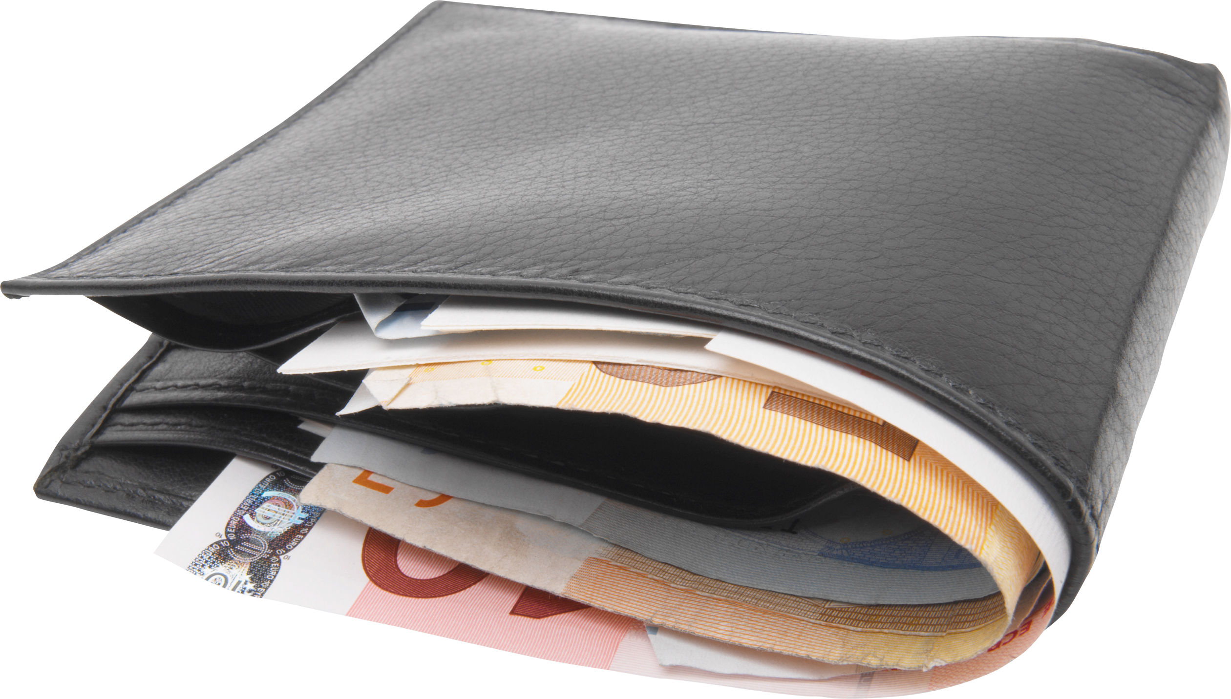 Wallet full of money png. With four isolated stock