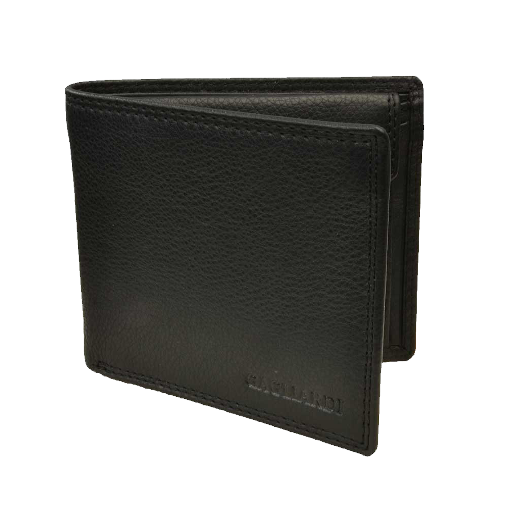 Wallet transparent leather. Black with coin pouch