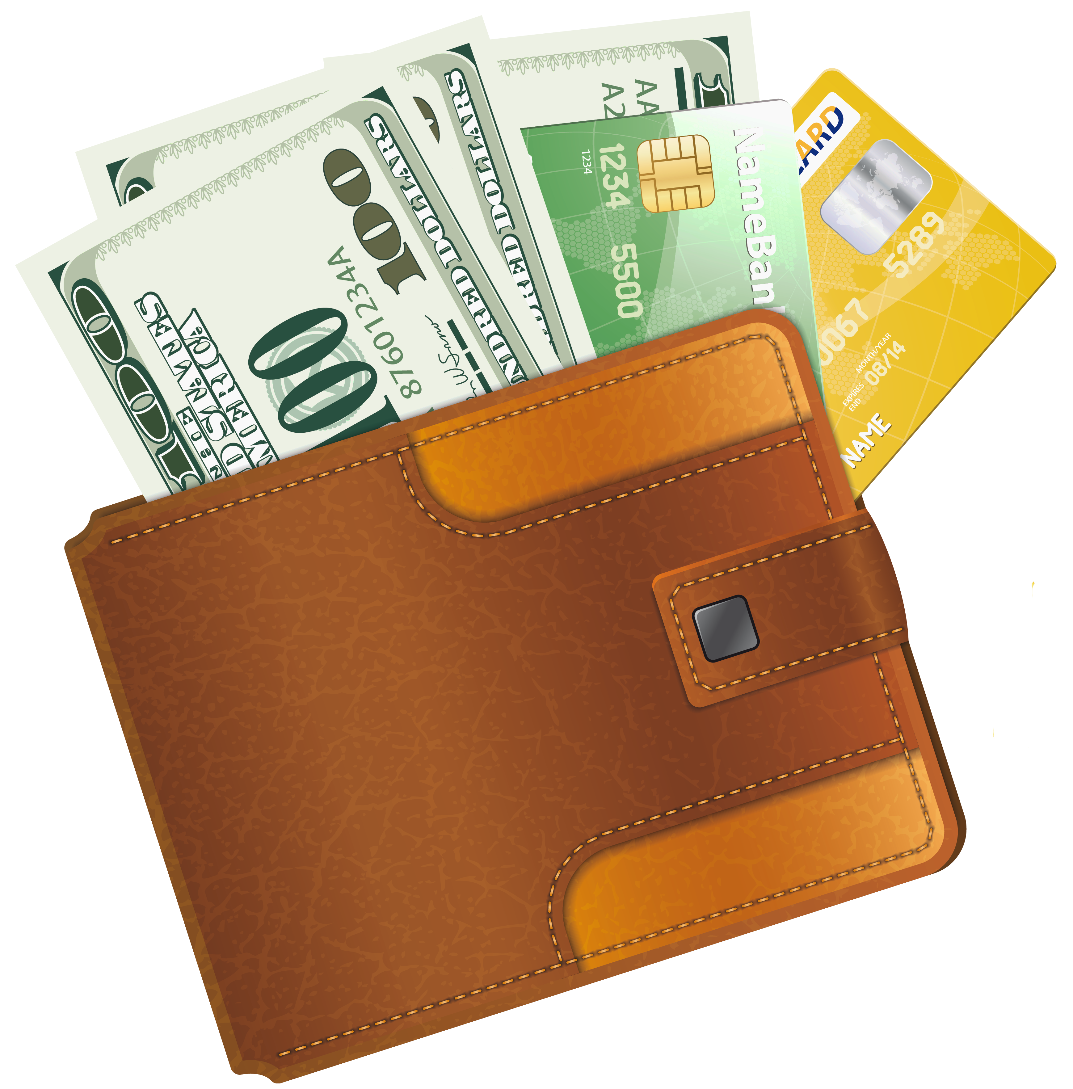 Wallet vector coloring. With credit cards clipart