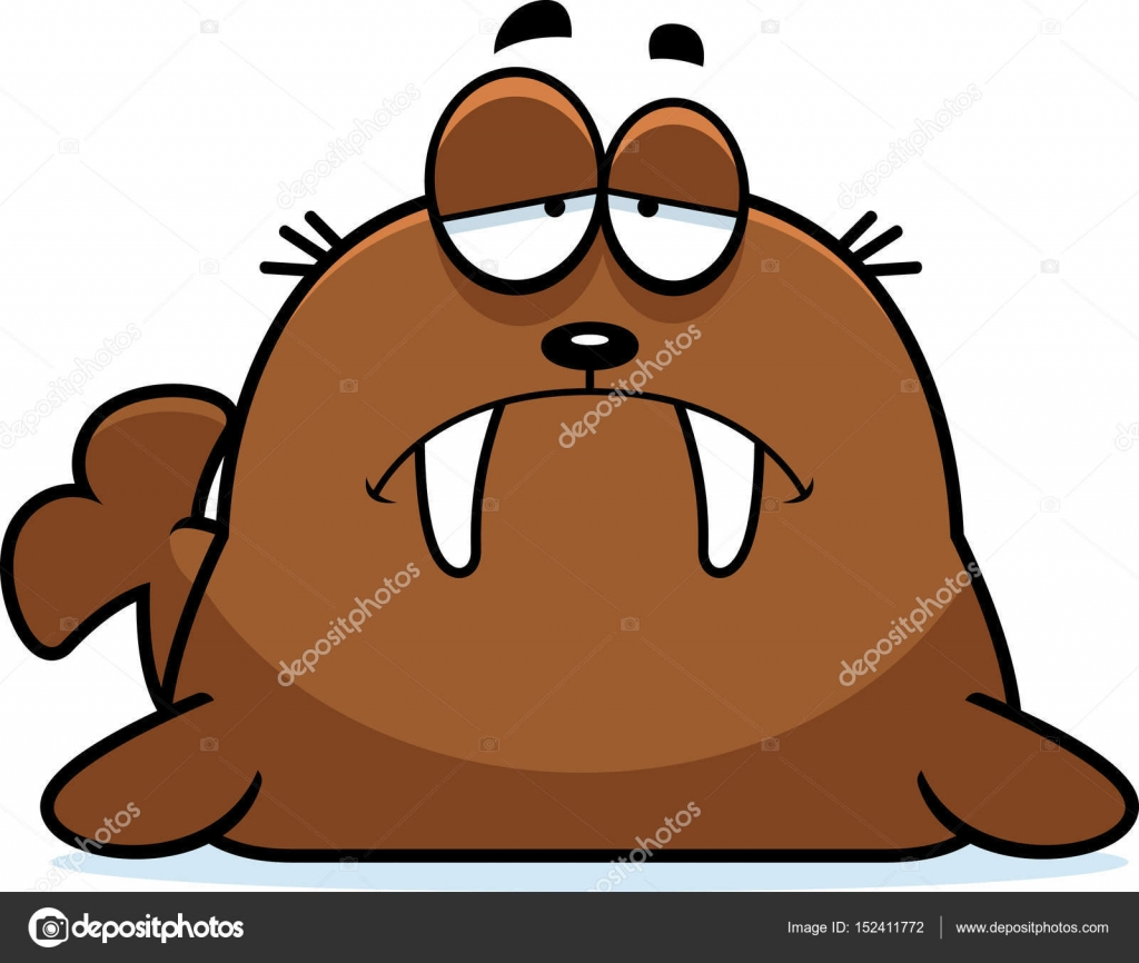 Cartoon stock vector cthoman. Walrus clipart sad picture library library