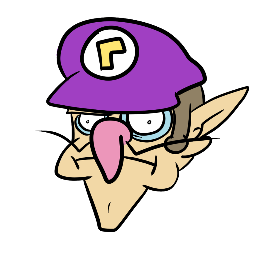 Waluigi head png. By pc engine on