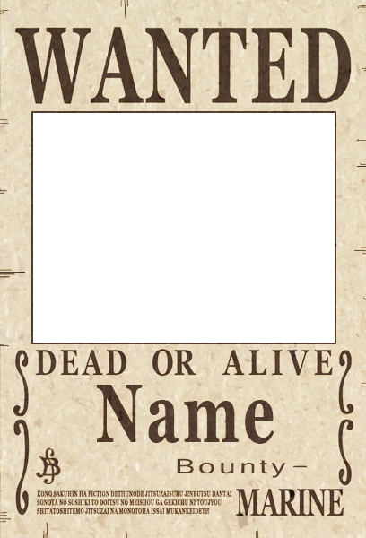 Wanted transparent blank. One piece poster psd