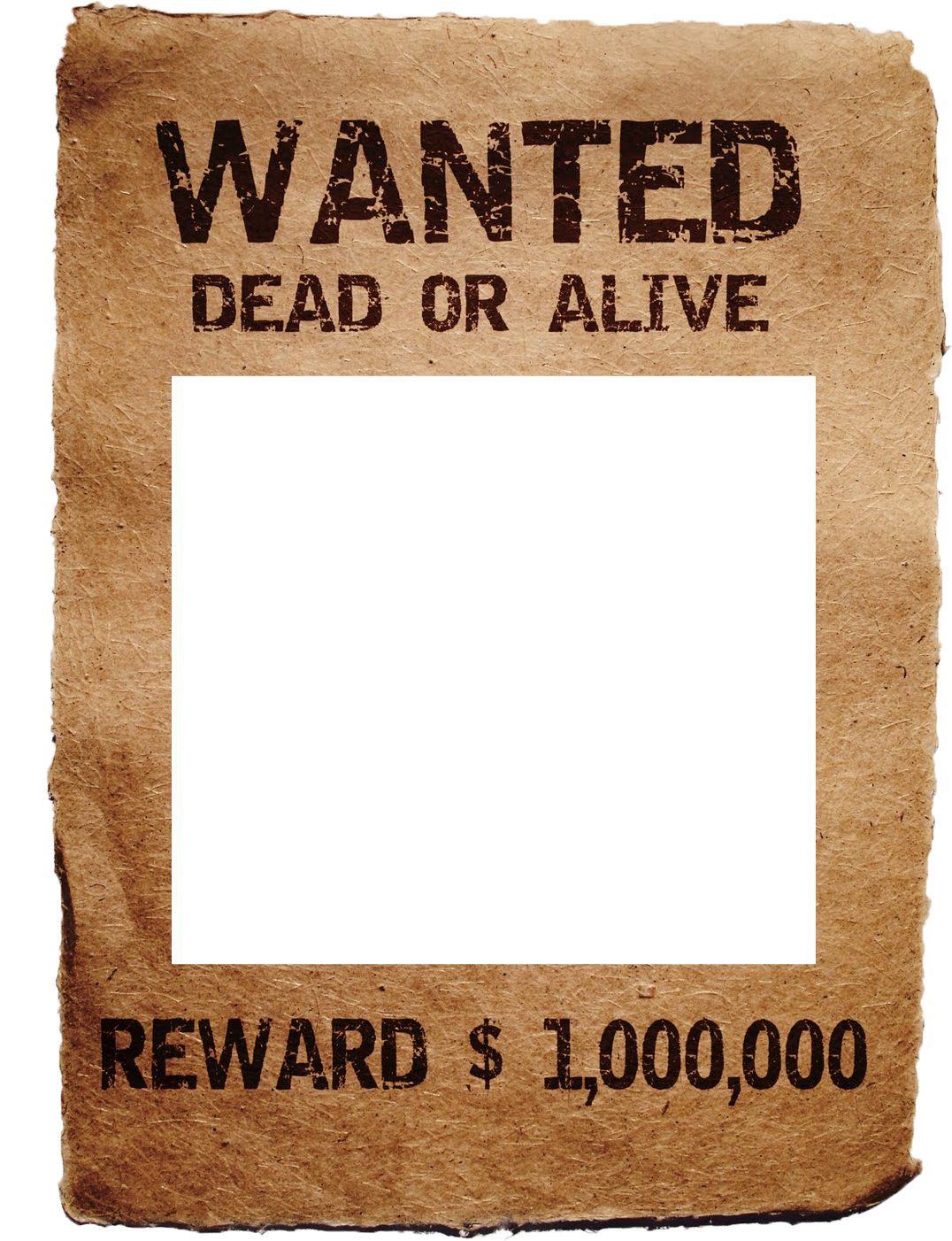 Wanted transparent printable. Free poster template irosh
