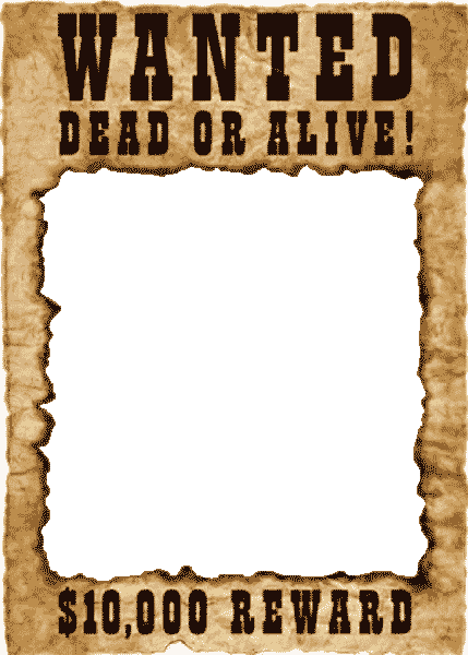 Wanted transparent template. Printable poster funf pandroid